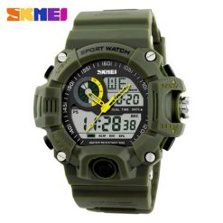 Skmei 1029 5ATM Dual Model Digital Analog Army Digital LED Watch - Green