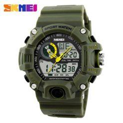Skmei 1029 5ATM Dual Model Digital Analog Army Digital LED Watch - Green