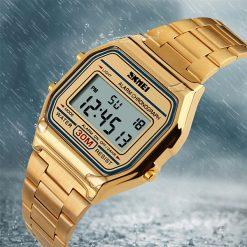 SKMEI 1123 Digital Classic Stainless Steel Alarm Watch - Gold