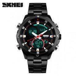 SKMEI 1146 Dual Mode Digital Analog Stainless Watch - Black