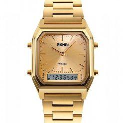 SKMEI 1220 Fashion EL Backlight Waterproof Watch - Gold