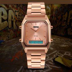 SKMEI 1220 Fashion EL Backlight Waterproof Watch - Rose Gold