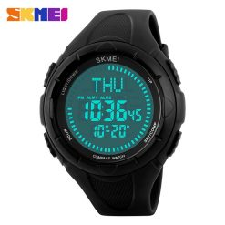 SKMEI 1232 30M Waterproof Digital Watch With Compass - Black