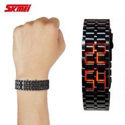 SKMEI 8061 Orange LED Alloy Watch - Black