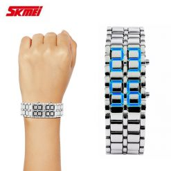 SKMEI 8061 Blue LED Alloy Watch - Silver