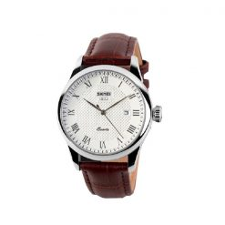 SKMEI LG9058CL Men Casual Leather Watch – Brown