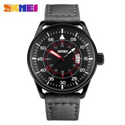 SKMEI 9113CL Casual Men Leather Strap Watch - Black