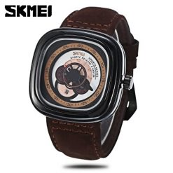 SKMEI 9129 Quartz Genuine Leather Strap Fashion Watch - White