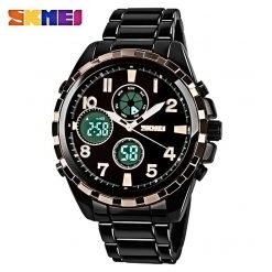 SKMEI AD1021S Dual Time Digital Analog Watch - Black