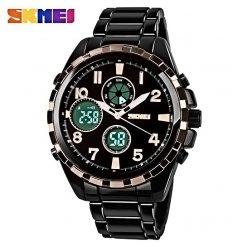 SKMEI AD1021S Dual Time Digital Analog Watch - Black