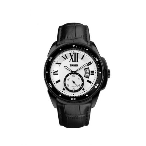 SKMEI Analog Round Leather Quartz Casual Watch - Black/White