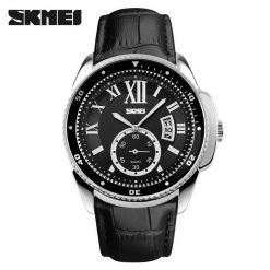 SKMEI Analog Round Leather Quartz Casual Watch - Silver/Black