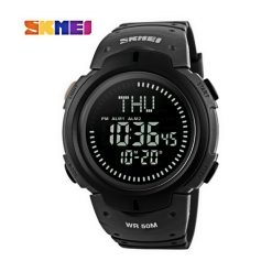 SKMEI Compass Edition Digital Sports Watch - Black