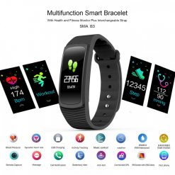 SMA B3 Multi function Health And Fitness Smart Bracelet With Interchangeable Strap - Black