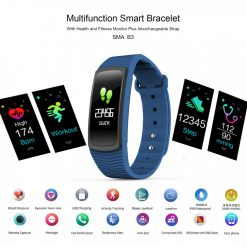 SMA B3 Multi function Health And Fitness Smart Bracelet With Interchangeable Strap - Blue