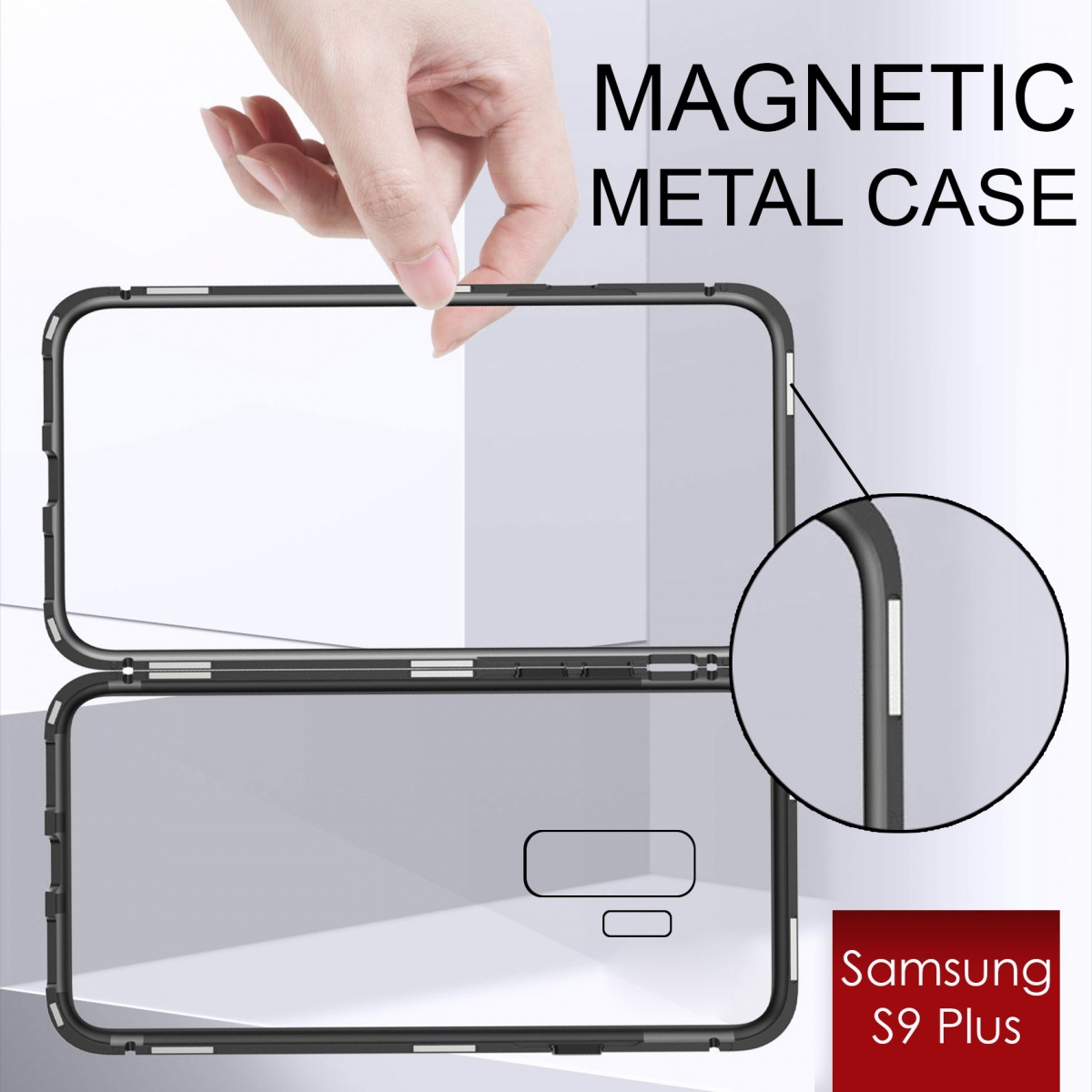 Samsung S9 Plus Magnetic Metal Flip Phone Case - Black