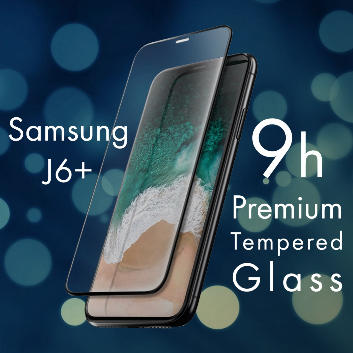 FOR SKU Samsung J6 Plus Full Screen Tempered Glass With Black Lining