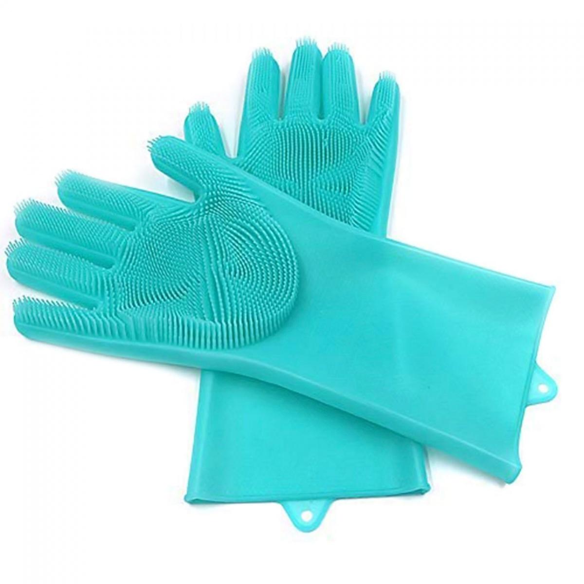 Silicone Sponge Dish Washing Cleaning Gloves - Blue