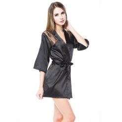 Silk Lingerie Babydoll Bath Robe Nighties Set - Black