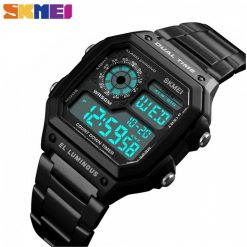 SKMEI 1335 Men's Waterproof Square Digital Chronograph Watch with EL Backlit - Black