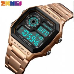 SKMEI 1335 Men's Waterproof Square Digital Chronograph Watch with EL Backlit - Rose Gold