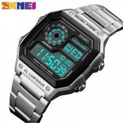 SKMEI 1335 Men's Waterproof Square Digital Chronograph Watch with EL Backlit - Silver