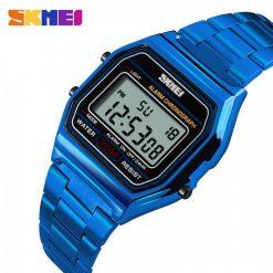 SKMEI 1123 Stainless Steel Digital Led Chrono Waterproof Women Men Sport Watch - Blue