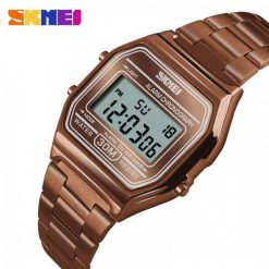 SKMEI 1123 Stainless Steel Digital Led Chrono Waterproof Women Men Sport Watch - Coffee