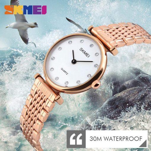 Skmei 1223 Shell Rhinestones Dial Women Watch - Gold