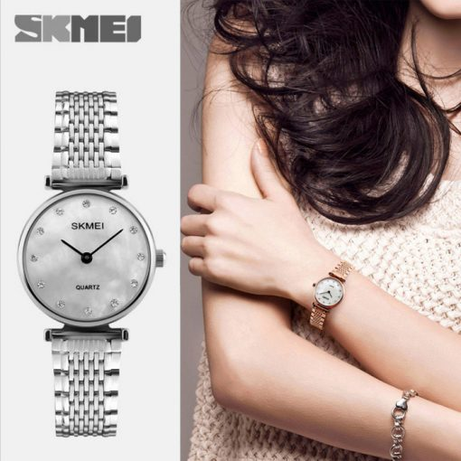 Skmei 1223 Shell Rhinestones Dial Women Watch - Silver