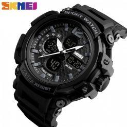 SKMEI 1343 Digital Watch Dual Display Chronograph 3 Time Waterproof Alarm Digital Quartz Wrist   Watch - Black