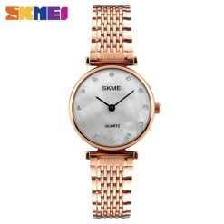 Skmei 1223 Shell Rhinestones Dial Women Watch - Gold