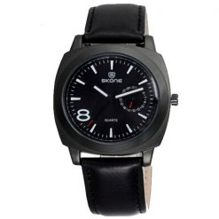 Skone Leather Wrist Watch - Black