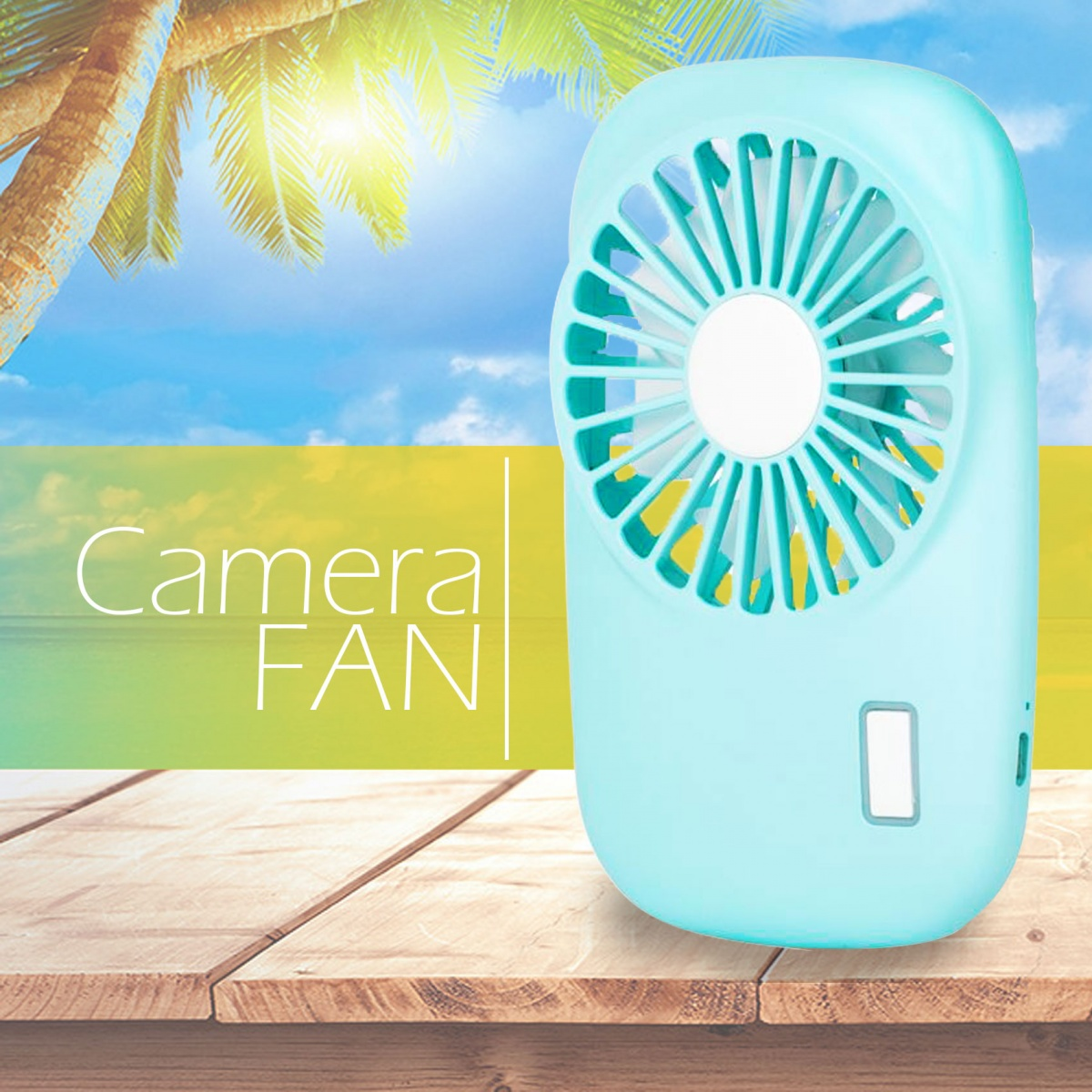 Handheld USB  Rechargeable Fan - Blue