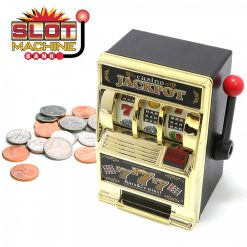 Toy Machine Bank Slot Coin Tin Jackpot Casino Vegas Money Box - Gold