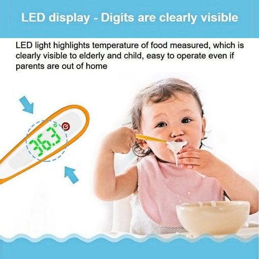 Temperature Control Spoon with Digital Thermometer, LED Display - Yellow