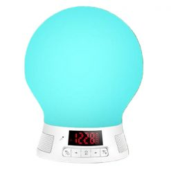Smart Bluetooth LED Light With Alarm Clock FM Radio And Card Slot Mp3 Player - White