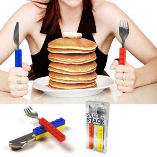 Snack & Stack Block Model Spoon Fork and Knife Set