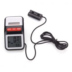 Solar Powered LCD Display Bicycle Pedometer - Black