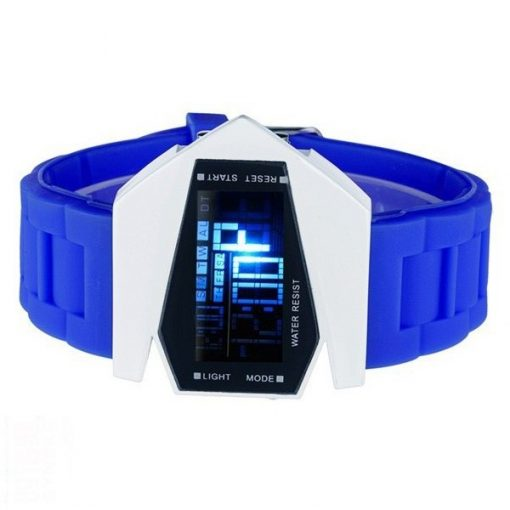 Sports Watch LED Stealth Aircraft with Silicone Strap - Blue