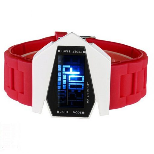 Sports Watch LED Stealth Aircraft with Silicone Strap - Red