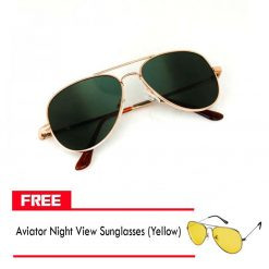 Spy Aviator Sunglass With Rear View - Black FREE Aviator Night View Sunglasses - Yellow