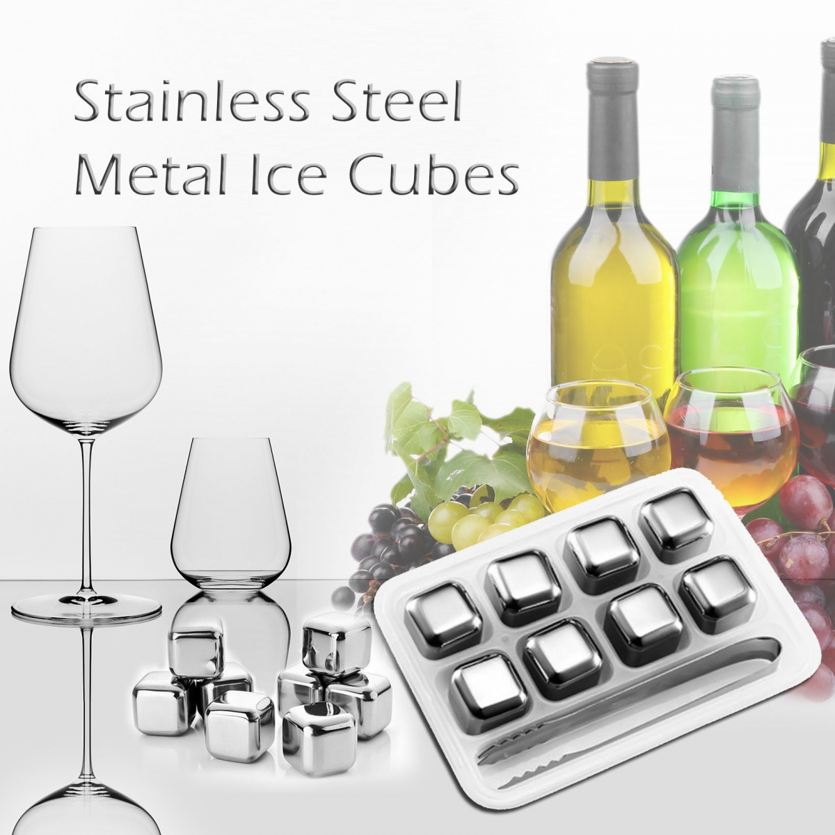 Stainless Steel Metal Ice Cubes - Silver