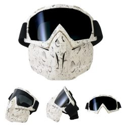 Tactical Trooper Motorcycle Goggles With Removable Face Mask - White
