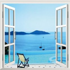 Sunshine Beach Chair Resorts 3D Window View Removable Wall Decal Sticker