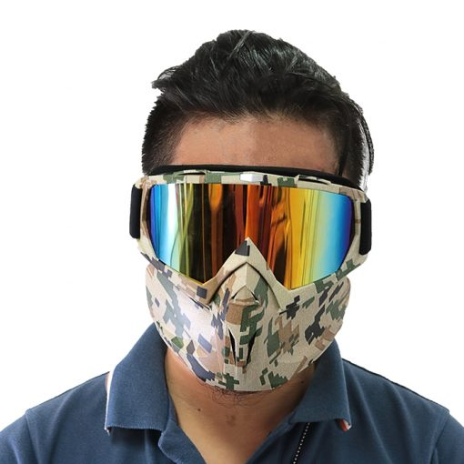 Tactical Retro Motorcycle Goggles With Removable Face Mask - Brown
