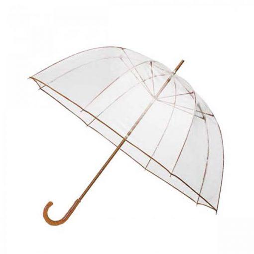 Transparent Dome Umbrella - Brown