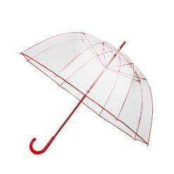 Transparent Dome Umbrella - Red