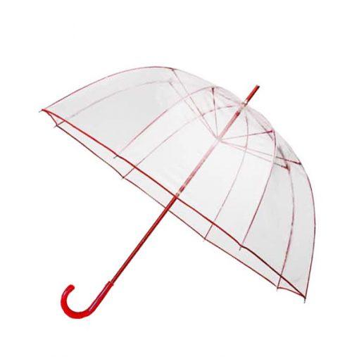 Transparent Dome Umbrella - Red