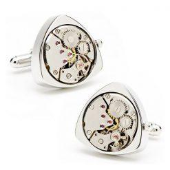 Triangle Watch Automatic Movement Cufflinks - Silver
